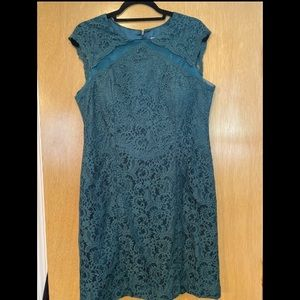 Turquoise Lace Fitted mini Dress